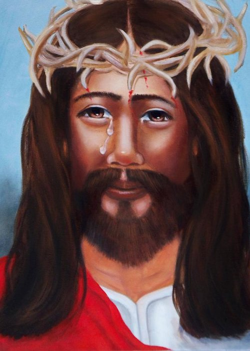Portrait Greeting Card featuring the painting Jesus In Red by Joni McPherson