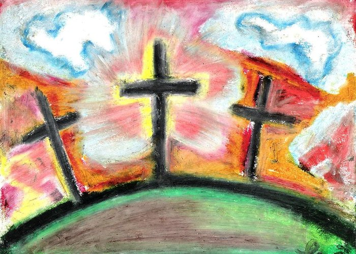 Crosses Greeting Card featuring the pastel Jesus Loves You by Levi Glassrock