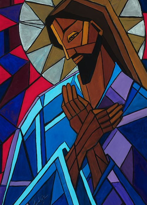 Jesus Greeting Card featuring the painting Jesus by Mary DuCharme