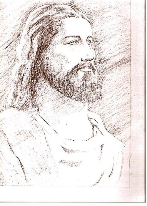Jesus Greeting Card featuring the drawing Jesus by Nevis Jayakumar