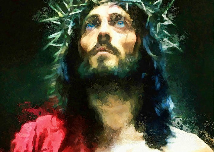 Jesus Greeting Card featuring the painting Jesus Of Nazareth by Tina LeCour