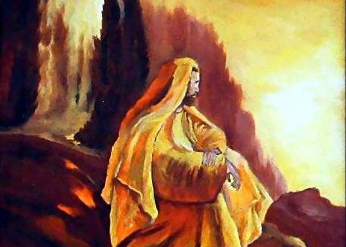 Figurative Greeting Card featuring the painting Jesus on the Mountain by Julie Lamons