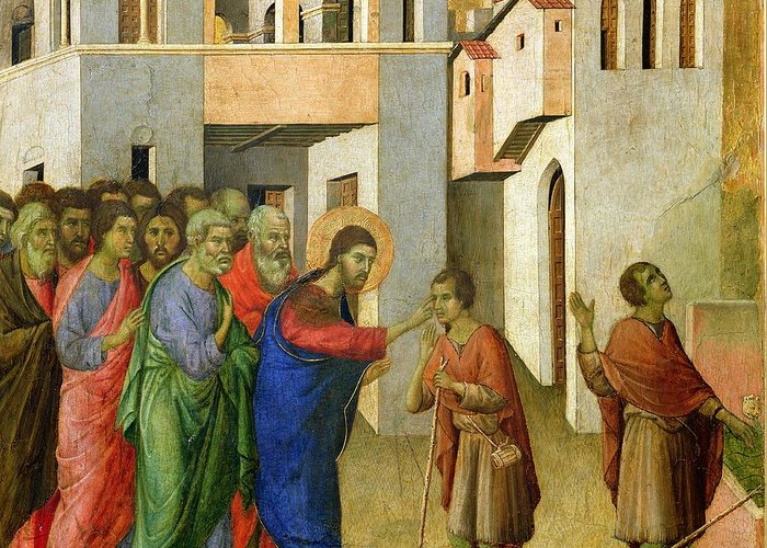 Jesus Greeting Card featuring the painting Jesus Opens The Eyes Of A Man Born Blind by Duccio di Buoninsegna