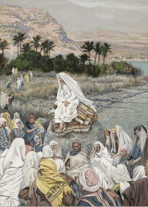 Sermon Greeting Card featuring the painting Jesus Preaching By The Seashore by Tissot