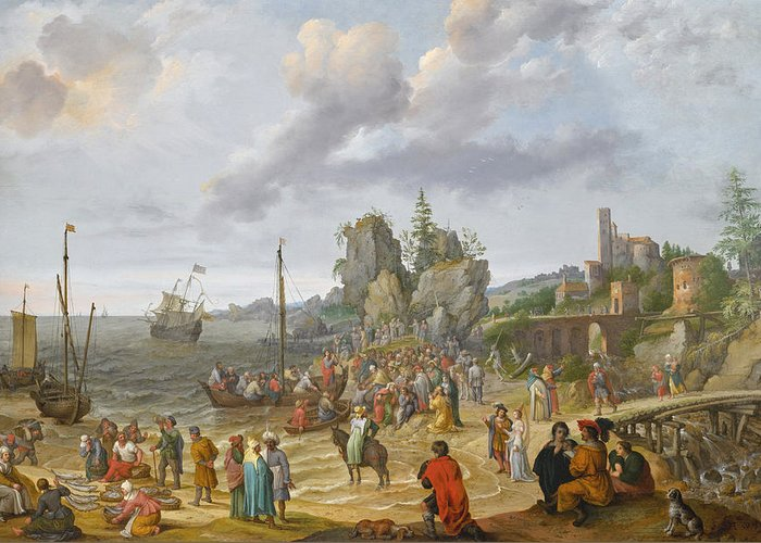 Abraham Willaerts Greeting Card featuring the painting Jesus Preaching On The Shores Of The Sea Of Galilee by Abraham Willaerts