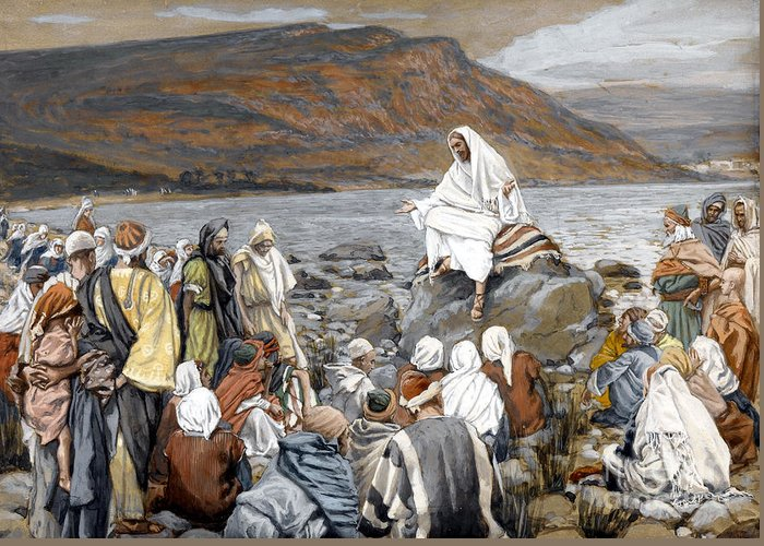 Tissot Greeting Card featuring the painting Jesus Preaching by Tissot