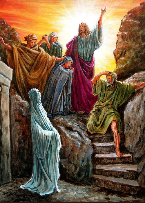 Bible Scene Greeting Card featuring the painting Jesus Raises Lazarus by John Lautermilch