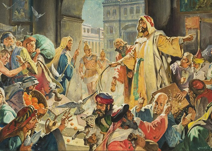 Jesus Greeting Card featuring the painting Jesus Removing The Money Lenders From The Temple by James Edwin McConnell
