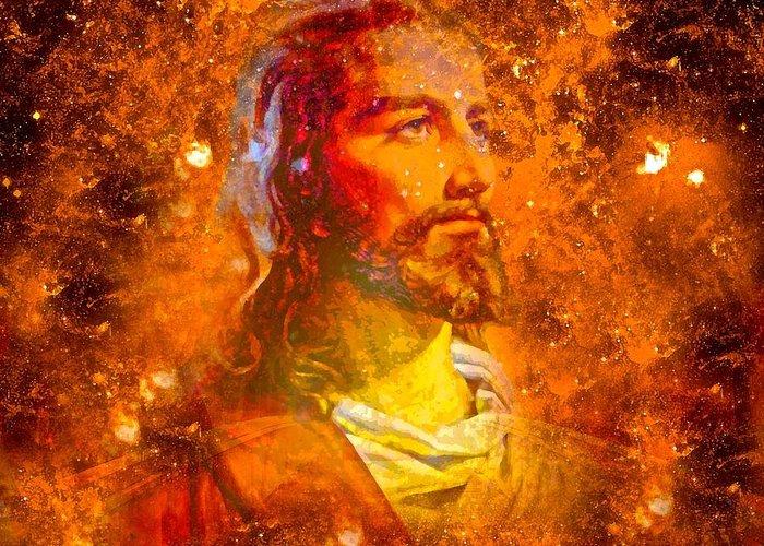 Jesus Greeting Card featuring the painting Jesus by Saundra Myles