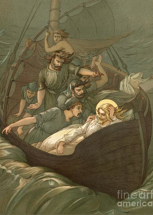Bible; Jesus Christ; Sleeping; Rest; Storm; Boat; Sea Of Galilee; Big Waves Greeting Card featuring the painting Jesus Sleeping During The Storm by John Lawson