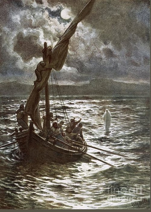 Bible; Jesus Christ; Walking On The Sea; Walking On Water; Sea Of Galilee; Boat; Sailing; Overtaking His Disciples Greeting Card featuring the painting Jesus Walking Upon The Sea by William Brassey Hole