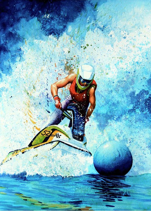 Ski-doo Painting Greeting Card featuring the painting Jet Blue by Hanne Lore Koehler