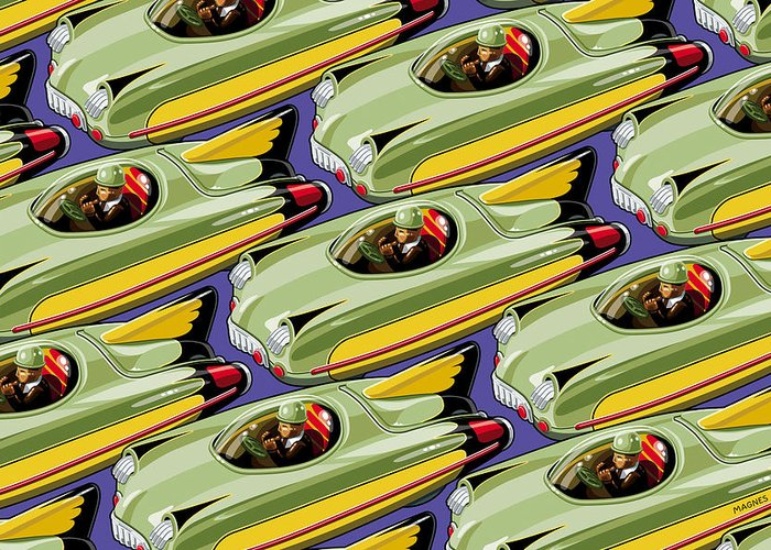 Toys Greeting Card featuring the digital art Jet Racer Rush Hour by Ron Magnes