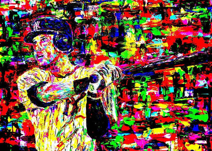 Jeter Greeting Card featuring the painting Jeter by Mike OBrien