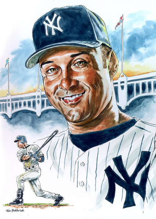 Jeter Greeting Card featuring the painting Jeter by Tom Hedderich
