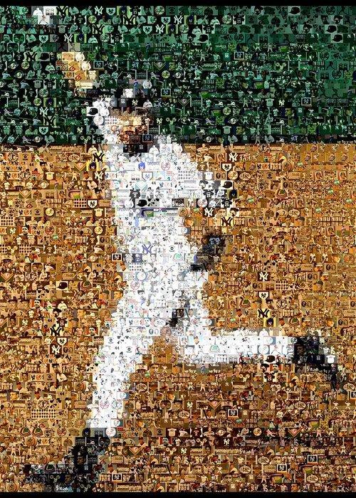Derek Jeter Greeting Card featuring the mixed media Jeter Walk-off Mosaic by Paul Van Scott