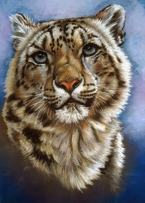 Snow Leopard Greeting Card featuring the pastel Jewel by Barbara Keith