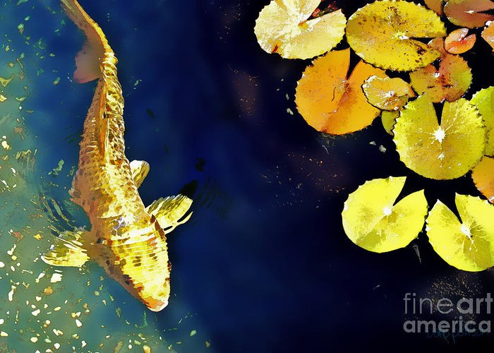Koi Greeting Card featuring the photograph Jewel Of The Water by Barb Pearson