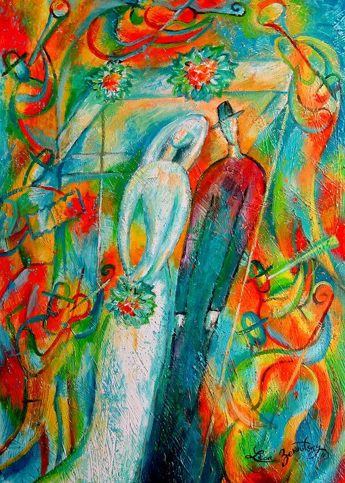 Bride Ceremony Color Groom Illustration Jewish Matrimony Medium Group Of People Pole Reception Religious Setup Tent Union Unrecognizable Wedding Whitemusicians Chuppa Decorative Painting Abstract Art Greeting Card featuring the painting Jewish Wedding by Leon Zernitsky
