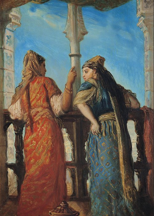 Jewish Greeting Card featuring the painting Jewish Women At The Balcony In Algiers by Theodore Chasseriau