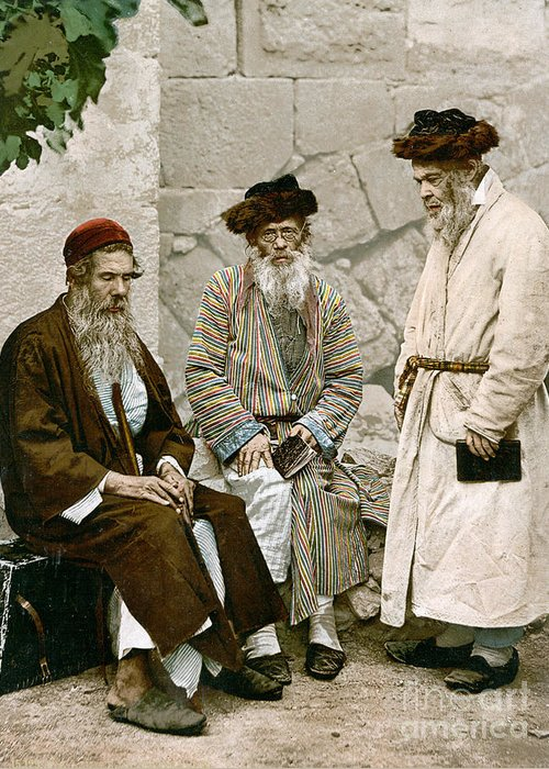 1900 Greeting Card featuring the photograph Jews In Jerusalem, C1900 by Granger
