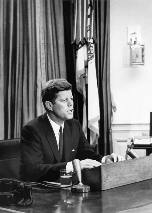 Jfk Greeting Card featuring the painting Jfk Addresses The Nation by War Is Hell Store