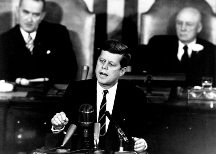 Jfk Greeting Card featuring the photograph Jfk Announces Moon Landing Mission by War Is Hell Store