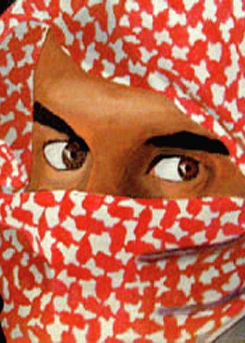Iraqi Greeting Card featuring the painting Jihadi by Darren Stein