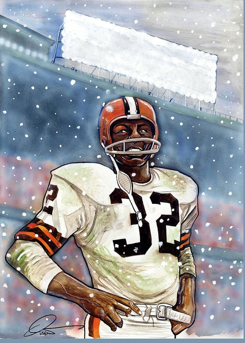 Jim Brown Greeting Card featuring the painting Jim Brown by Dave Olsen