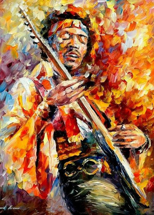 Music Greeting Card featuring the painting Jimi Hendrix by Leonid Afremov