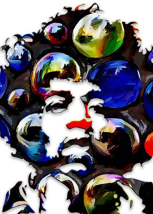 Jimi Hendrix Greeting Card featuring the digital art Jimi Hendrix by Love Art