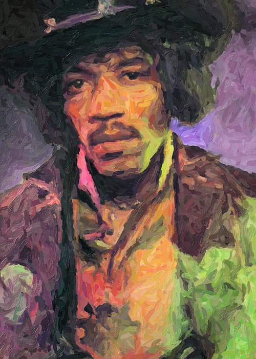 Jimi Hendrix Greeting Card featuring the painting Jimi Hendrix by Zapista OU