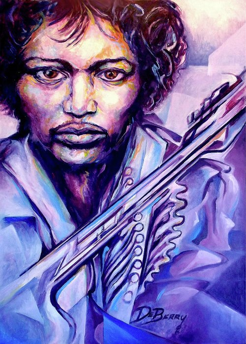Greeting Card featuring the painting Jimi by Lloyd DeBerry