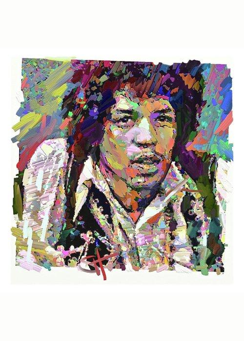 Jimi Hendrix Music Portrait Musician Rock Greeting Card featuring the digital art Jimi by Scott Waters