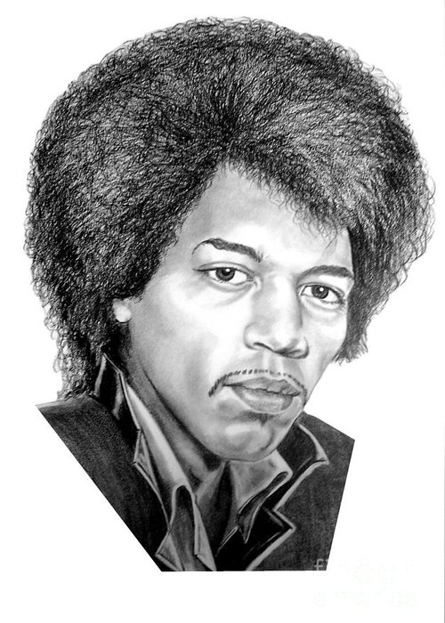 Jimmi Hendrix Greeting Card featuring the drawing Jimmi Hendrix By Murphy Art. Elliott by Murphy Elliott