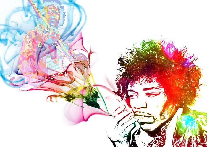 Jimmi Hendrix Greeting Card featuring the digital art Jimmi Hendrix by The DigArtisT