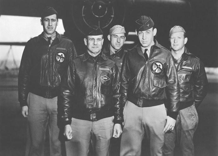 Doolittle Raid Greeting Card featuring the photograph Jimmy Doolittle And His Crew by War Is Hell Store