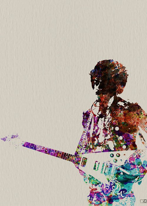 Jimmy Hendrix Greeting Card featuring the painting Jimmy Hendrix With Guitar by Naxart Studio