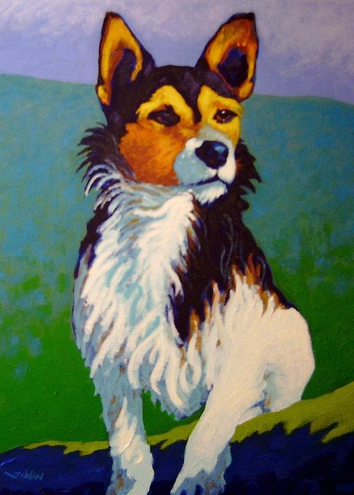 Dog Jack Russell Hunting Puppy Farm Irish Print Giclee Portrait Traditional Representational Colourful Contemporary Bone Doggy Greeting Card featuring the painting Jimmy by John Nolan
