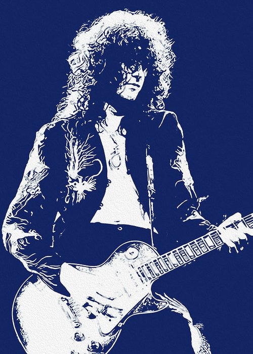 Jimmy Page Portrait Greeting Card featuring the painting Jimmy Page In Blue Portrait by Andrea Mazzocchetti