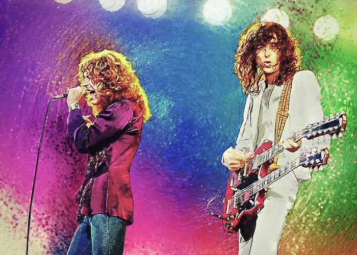 Led Zeppelin Greeting Card featuring the digital art Jimmy Page - Robert Plant by Zapista Zapista