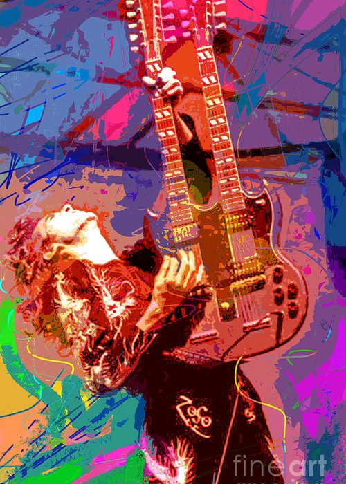 Jimmy Page Greeting Card featuring the painting Jimmy Page Stairway To Heaven by David Lloyd Glover