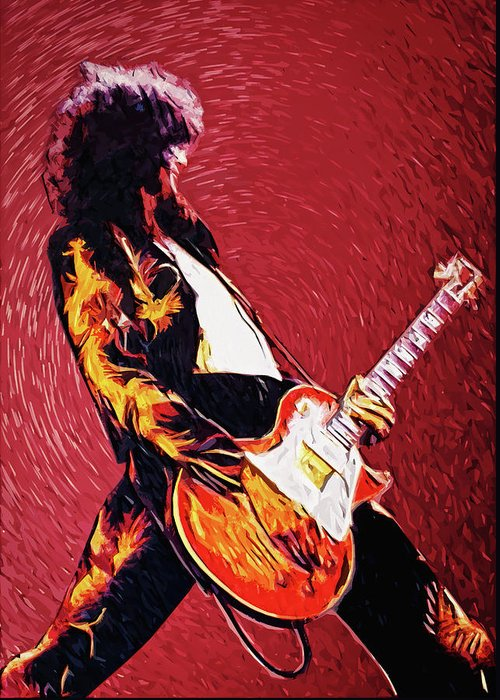 Led Zeppelin Greeting Card featuring the digital art Jimmy Page by Zapista OU