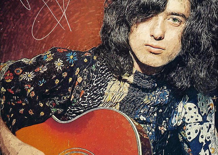 Jimmy Page Greeting Card featuring the digital art Jimmy Page by Zapista Zapista