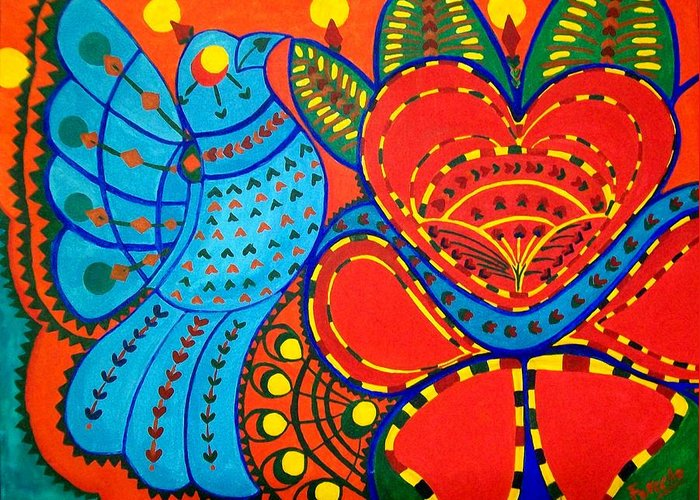 Contemporary Folk Greeting Card featuring the painting Jinga Bird - Jinga Bird Series by Fareeha Khawaja