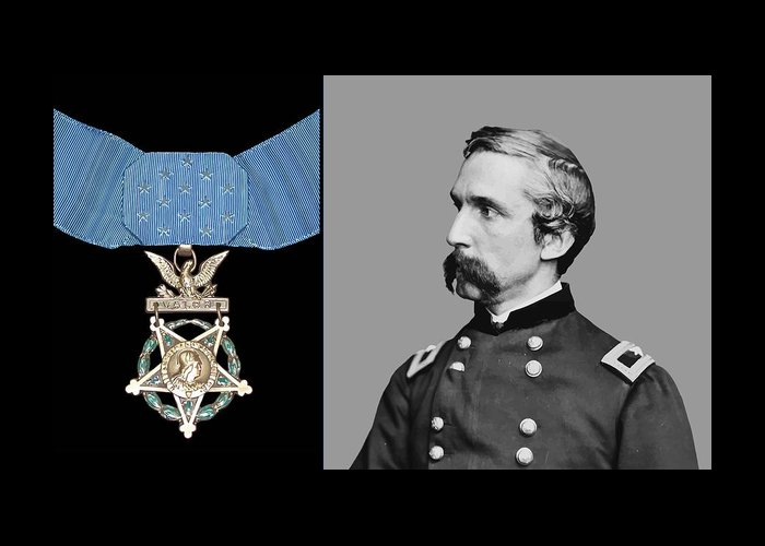 General Chamberlain Greeting Card featuring the painting J.l. Chamberlain And The Medal Of Honor by War Is Hell Store
