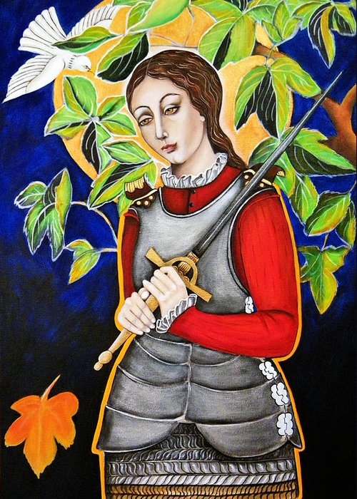 Joan Of Arc Greeting Card featuring the painting Joan Of Arc by Christina Miller