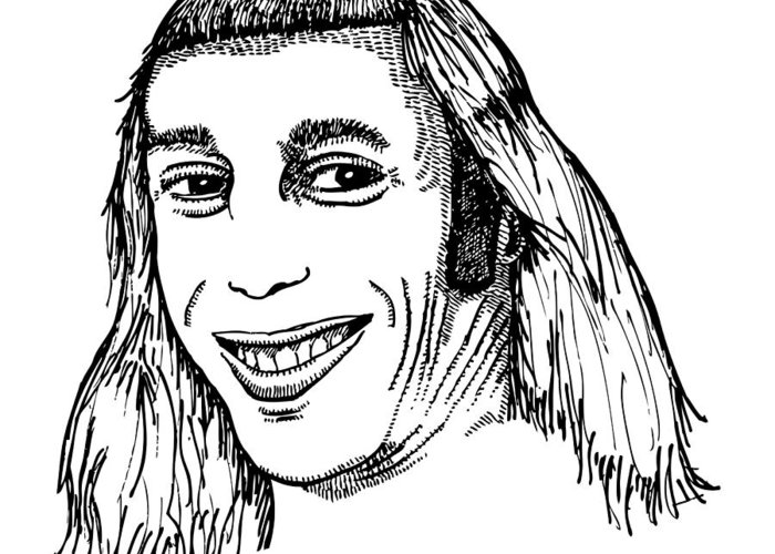 Drawing Greeting Card featuring the drawing Joe Mullet by Karl Addison