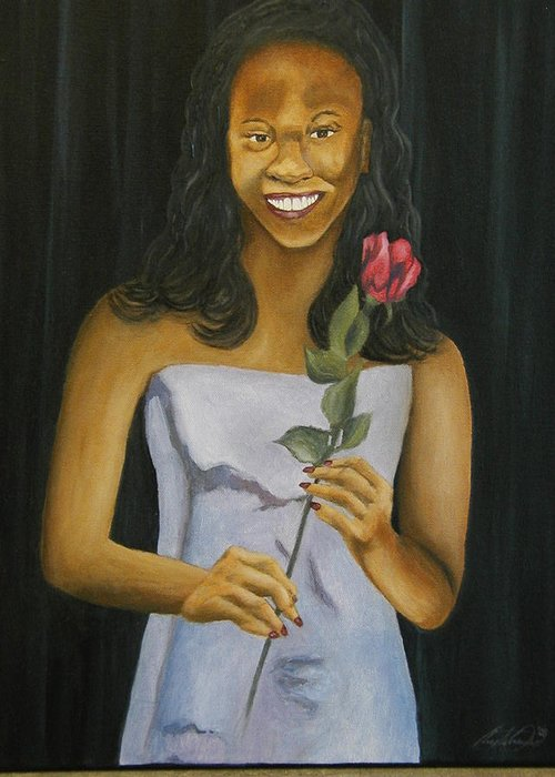 Portrait Greeting Card featuring the painting Joell by Angelo Thomas