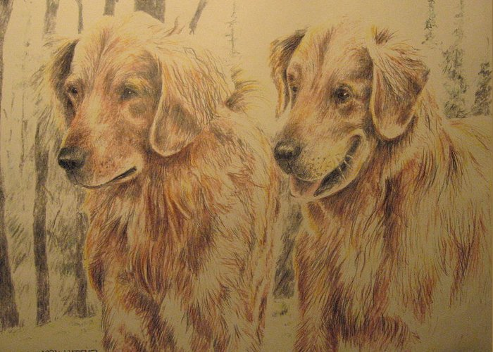 Dogs Greeting Card featuring the drawing Joe's Dogs by Larry Whitler